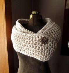 Long Loop Circle Scarf in Cream Chunky Crochet by LazyTcrochet, $45.00