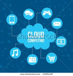 cloud computing icons over blue background vector illustration   - stock vector