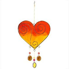 Sun Catchers Two Tone Heart Sun Catchers Spiral Design (Orange/Yellow)