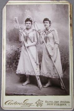 Pair of Ladies with May Pole Outfits and Poles Albumen Photo New ULM MN | eBay