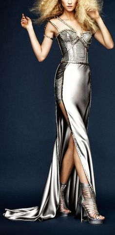 The Look: Silver Chrome Corseted Atelier Versace Gown
