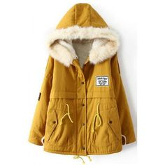 $54.30 Casual Style Long Sleeve Hooded Faux Fur Splicing Drawstring Women's Coat