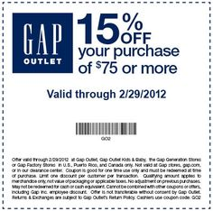 15% OFF $75 PURCHASE at Gap