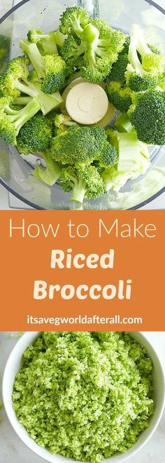 How to Make Riced Broccoli - an easy tutorial on making your own riced broccoli including a video! Broccoli rice is a great addition to stir fries, grain bowls, smoothies, and more. Riced Broccoli Recipes, Broccoli Rice, Side Recipes, Keto Recipes, Healthy Recipes, Healthy Foods, Healthy Dinners, Healthy Options, Easy Recipes