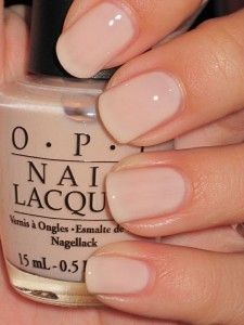 "OPI nail polish in ""Mimosas."" Soft color for a natural look. This is the color I got Saturday on spa day with the girls. I love it. It looks like a light French for cheaper!"