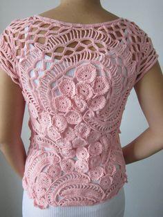 Pink Crochet Sweater Crochet Blouse Freeform Sweater by MARTINELI, $150.00
