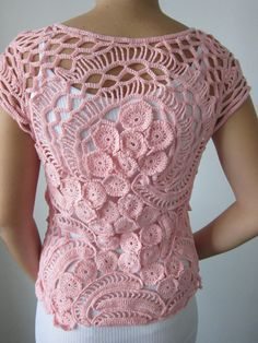 Pink crochet sweater crochet blouse freeform crochet sweater lace crochet top womens jacket. (Back view) Gorgeous pink color!