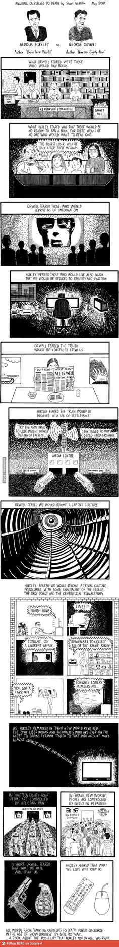 a literary analysis and a comparison of a brave new world by aldous huxley and 1984 by george orwell Of dystopian novels: aldous huxley's ''brave new world'' and george orwell's '' 1984'' and shows how in  hypnopaedia in brave world: quotes & analysis.
