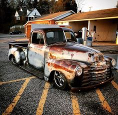 Deep gloss clear coat over a patina rusty finish on an Advance Design Chev pickup truck