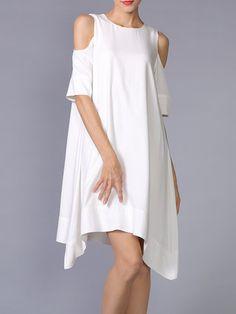 White Asymmetrical Plain Cutout Mini Dress - StyleWe.com