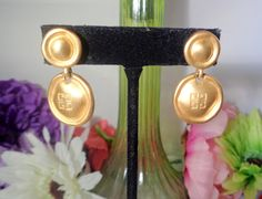 15% Coupon 4022017  Vintage Givenchy Medallion Pierced Goldtone Earrings Measure 1.5 inches Long PIERCED. by CCCsVintageJewelry on Etsy