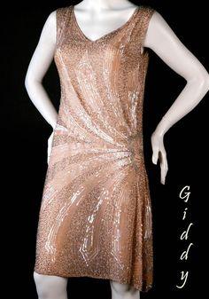 FABULOUS 1920s Peach Beaded Flapper Dress - Sz Sm found on Ruby Lane