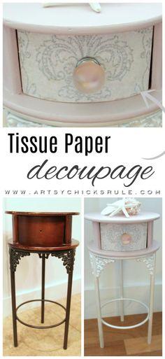 Antoinette Chalk Paint & Tissue Paper Decoupage! artsychicksrule.com #antoinettechalkpaint #chalkpaint #decoupage