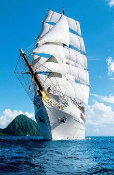 """The """"SEA CLOUD II"""" is a square rigged, three-masted, steel hulled barque used as a cruise ship. Tall Ships, Old Sailing Ships, Ocean Sailing, Full Sail, Yacht Boat, Sail Away, Set Sail, Water Crafts, Canoe"""