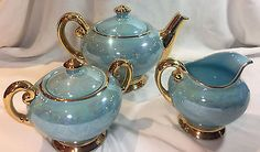 Acme Craftware Turquoise Lusterware 22k Gold Warranted Teapot & Sugar & Creamer 2