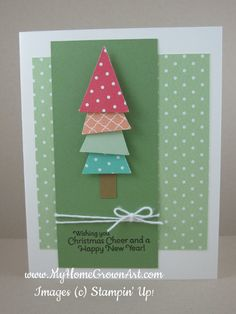 Very cute Christmas card with Untraditional Christmas colors  Using Stampin Up pennant punch