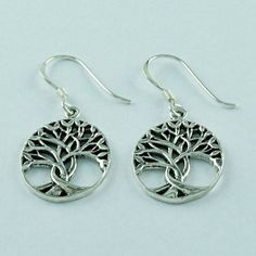 United Worlds - Tree of Life Celtic Knot Symbol 925 Sterling Silver Earrings #SilvexImagesIndiaPvtLtd #DropDangle