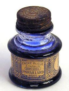 """Blue ink from J. Pailard in Paris, France. """"Encre Bleue A Tampon Sans Hile"""", translates to """"Blue Ink A Stamp Without Oil"""". Antique Bottles, Vintage Bottles, Bottles And Jars, Glass Bottles, Perfume Bottles, Vintage Perfume, Antique Glass, Graf Von Faber Castell, Bleu Cobalt"""