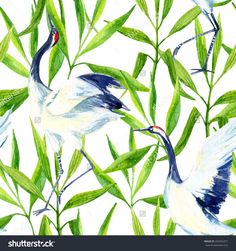 stock-photo-watercolor-asian-crane-bird-seamless-pattern-hand-painted-bamboo-illustration-on-white-background-292053257.jpg (1500×1600)