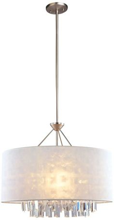 Piccadilly White Shade Adjustable 22-Inch-H Pendant Light - #EUY0025 - Euro Style Lighting 221/2 wide20 high $474