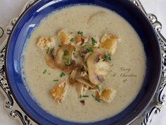 Sopa de champiñones con puerro (sin patata y con leche evaporada) - Mushroom and leek soup Curry, Leek Soup, Cheeseburger Chowder, Stew, Stuffed Mushrooms, Veggies, Chowders, Chilis, Recipes