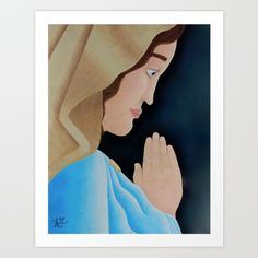 This is an asymmetrical portrait of the Mary, the mother of Jesus. You can see her side profile as she prays for others. This drawing was inspired by a statue I had come across and it was done with Prismacolor Premier soft core color pencils.