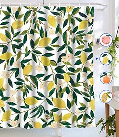 Lifeel Lemon Shower Curtains, Allover Fruits Shower Curtain Green Leaves Plant Design Waterproof Fabric Bathroom Shower Curtain Set with 12 Hooks, Green Yellow Peach Shower Curtain, Yellow Shower Curtains, Bathroom Shower Curtain Sets, Modern Shower Curtains, Flower Shower Curtain, Fabric Shower Curtains, Bathroom Ideas, Bathroom Showers, Kitchen Curtains