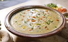 A hearty spring soup with a fresh Moroccan twist.