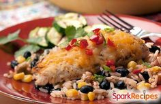 Black Bean Chicken: 2 cans black beans 16 ounces jarred salsa 1/2 cup brown rice (uncooked) 1 pound boneless, skinless chicken breasts Place chicken breasts in slow cooker. Pour beans, rice and salsa over chicken. Cook on low for 8-10 hours and serve.