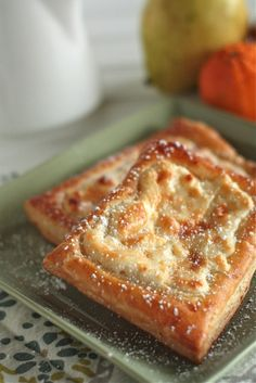 Quick and Simple Cheese Danishes     A quick cheese danish made with puffy pastry. Easy for brunches, desserts or just because.    ingredients:  1 sheet Puff Pastry dough, thawed  8 ounces Cream Cheese, softened  1 tsp Lemon Zest  1 tsp Vanilla Extract  4 Tbsp Sugar  1 Egg + 2 Tablespoons water, whisked for egg wash    Preheat oven to 400 degrees.