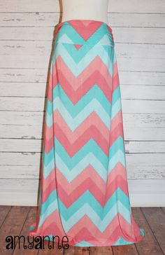 2462a27f80ab Perfect Women's and Plus Aqua and Coral Pink Large Chevron Zig Zag Knit Maxi  Skirt Long