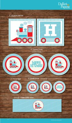 Choo Choo Train Birthday Party DIY Printable Party pack - match with Thomas the train - baby blue - instant download, $15 for set via Etsy.