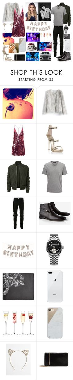 """""""Happy birthday to me!!"""" by tgrr ❤ liked on Polyvore featuring Chicwish, Motel, Giuseppe Zanotti, Cova, LE3NO, Joseph, AMIRI, Express, Raymond Weil and County Of Milan"""