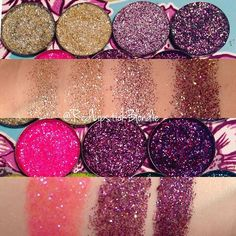 Swatches.. Part 1 diy pressed glitter. Glitter injections