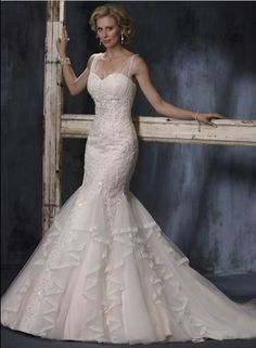 Retro Trumpet Mermaid Spaghetti Straps Court Train Organza Wedding Dress  With Lace 8c1b81417881