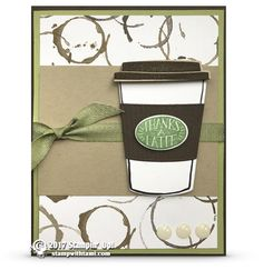 ONLINE CLASS & VIDEO: Thanks a Latte from the Coffee Break Suite - use the crimper on the middle piece for a little more interest Thanks A Latte, Scrapbooking, Scrapbook Cards, Chocolate Card, Origami, Coffee Theme, Coffee Cards, Coffee Break, Coffee Cup