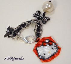 Hello Kitty/Bag Charm/Purse Charm/Key Chain/Sell Phone Charm/Beaded Accessory on Etsy, $12.00