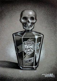 ☆ Poison :¦: By Artist Keith Weesner ☆ Pen Sketch, Sketches, The Lovely Bones, Skeleton Art, Skull Art, Skull Head, Neo Traditional Tattoo, Pop Surrealism, Psychobilly