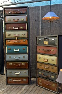 Old suitcases used for chest of drawers.