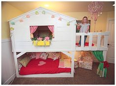 My plan from the beginning was to build a playhouse bed. Instead of starting from scratch I bought a wood bed from Ikea. It was actually cheaper to buy the wood this way.Next step was to work on the bedding. I really wanted the beds to be comfy with lots of pillows so you could relax back on…