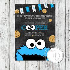 Cookie Monster Birthday Invitation Sesame Street by TrusnerDesigns