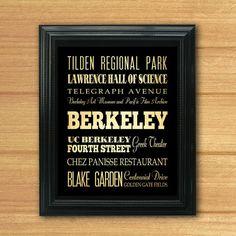 Berkeley California Typography Art by LegacyHouseArt on Etsy, $19.95