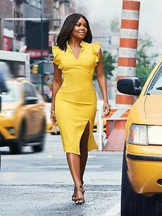 56cfb0fef3c Avenue Ruffled V-Neck Sheath Dress by New York   Company