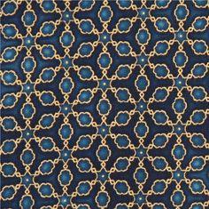 dark blue star ornament star pattern gold metallic fabric Robert Kaufman 1