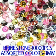 10000pcs Mixed Colors 3mm Stick Drill Glue On Flatback Strass Glitter DIY Resin Rhinestones 3D Nail Art Decorrtions DIY Beads #Affiliate