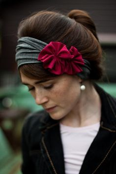 Charcoal and raspberry Rosette Stretch headband- Garlands of Grace classic winter. $26.00, via Etsy.