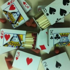 Playing card matchbook party favor for a Rockabilly wedding
