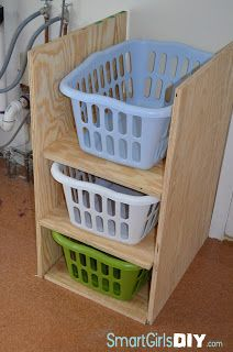 building a laundry basket shelf; can modify to make 6 tall?  like that has shelves instead of pegs for sliding the baskets on and off