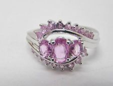 925 STERLING SILVER RING 1.00 CT TW PINK SAPPHIRE CLUSTER OVALS 3.7g SIZE 6.5 JS