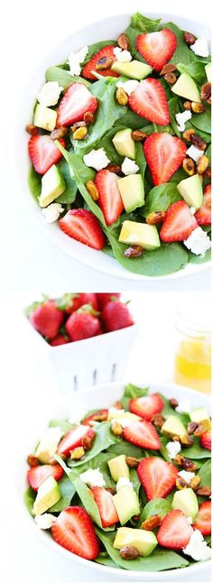 Strawberry Spinach Salad with Avocado, Goat Cheese, and Candied Pistachios on http://twopeasandtheirpod.com. The perfect salad for spring and summer!